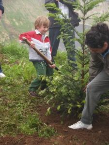 Santi y Berta plantando un tejo en Rozadas