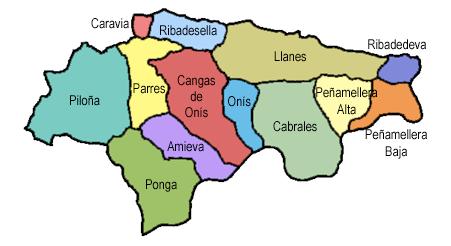 mapa mancomunidad del oriente de Asturias