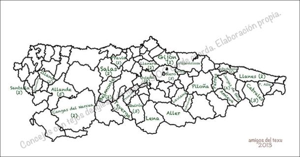 mapa asturias tejos > 300cm concejos