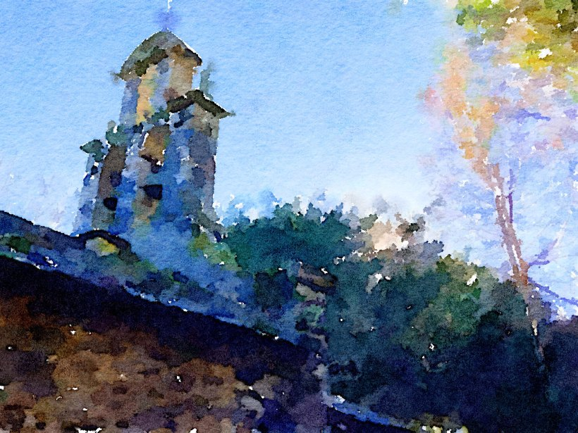 Tejo Santa Coloma pintado con Waterlogue